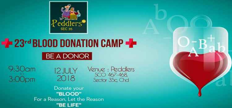 Annual 23rd Blood Donation Camp At Peddlers, Chandigarh!