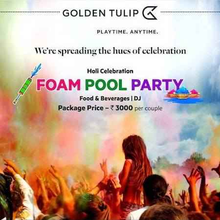 holi foam pool party golden tulip chandigarh march 2019